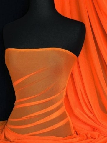 Orange LT Power Mesh 4 Way Stretch Fabric 109LT OR