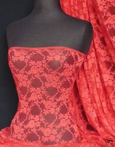 Tomato red flower soft stretch lace with lycra