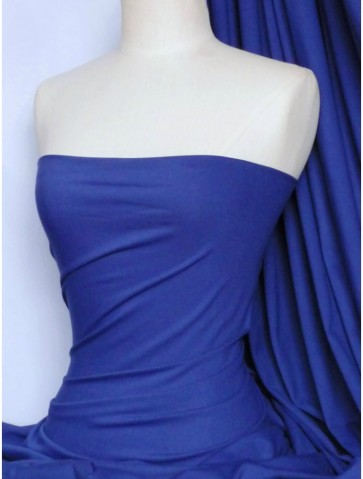 Royal Blue Cotton Lycra Jersey 4 Way Stretch Fabric Q35 RBL