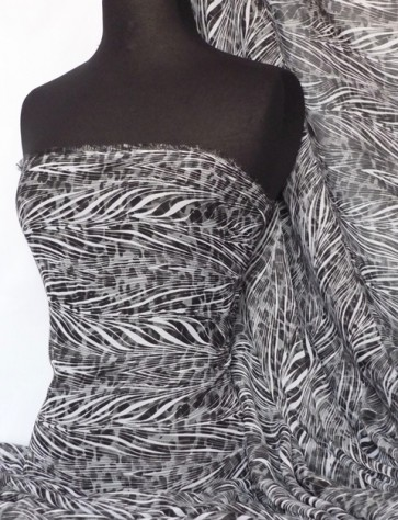 Black/White Abstract Soft Touch Chiffon Sheer Fabric Q685 BKWHT