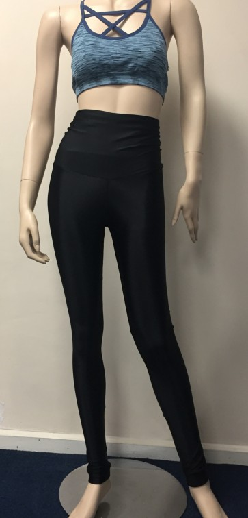 LARGE Black Body Control Super Stretch High Waist Shiny Lycra Leggings BK