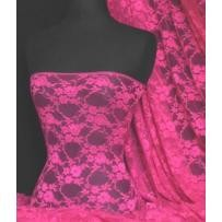 Cerise flower soft stretch lace wiith lycra fabric