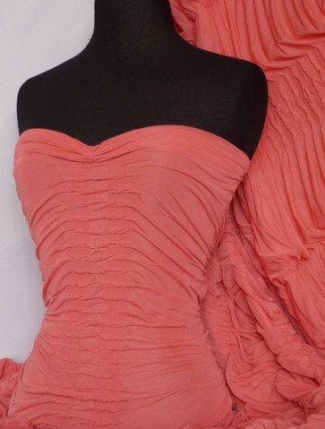 Coral Ruched Catwalk Look 4 Way Stretch Fabric Q804 CRL
