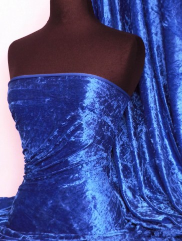 Electric Blue Crushed Velvet/ Velour Stretch Fabric Q156 ELCBL