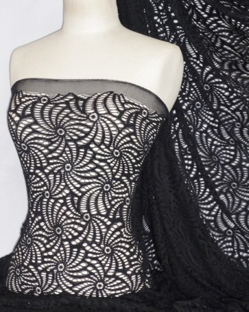 Knit Knitted Crochet Stretch Fabric Material Black KNT39 BK