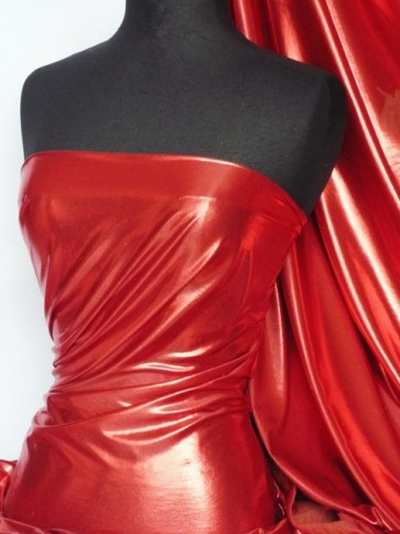 Red Wet Look Foil Stretch Lycra Fabric NG253 RD