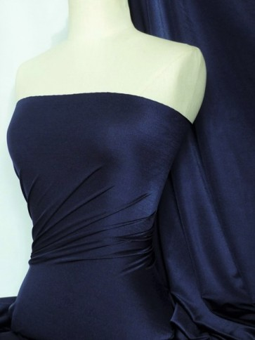 Dark Navy Shiny Lycra 4 Way Stretch Fabric Q54 DKNY
