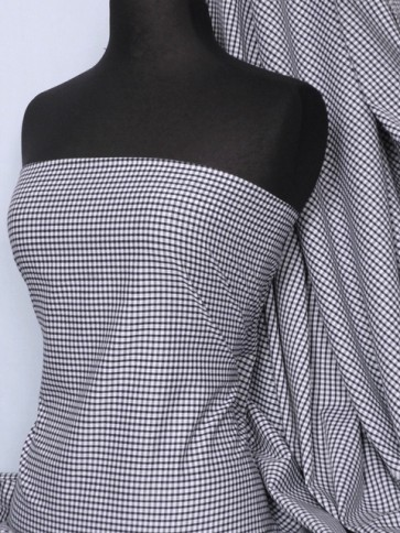 """Navy gingham 1/8"""" poly cotton check fabric Q563 NY"""
