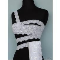 White Sequin Scallop Edging Stretch Lace Trim 4cm Sew