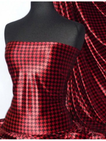 Red/Black Dogtooth Velvet Spandex Fabric Luxuriously Soft Velvet Material PVEL25 RDBK
