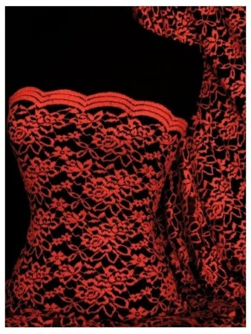 Red Rose Scalloped Stretch Lace Lycra Fabric Q1170 RDBK