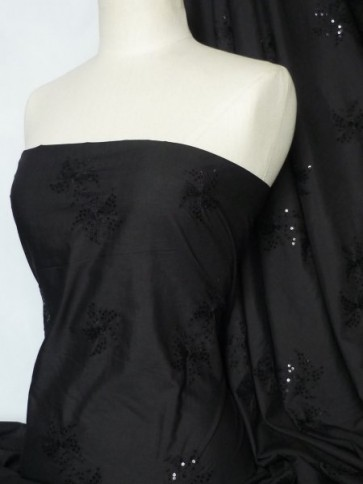 Black Flower Poly Cotton Sequins Embroidered Material Q1265 BK