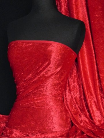 Red Crushed Velvet/ Velour Stretch Fabric Q156 RD