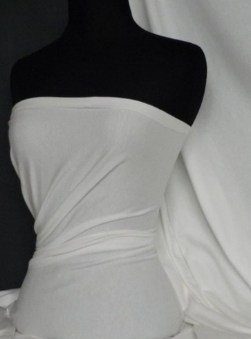 Ivory Cotton Lycra Jersey 4 Way Stretch Material Q35 IV