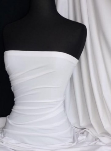 White Luxe Cotton Lycra Jersey 4 Way Stretch Soft Fabric SQ403 WHT