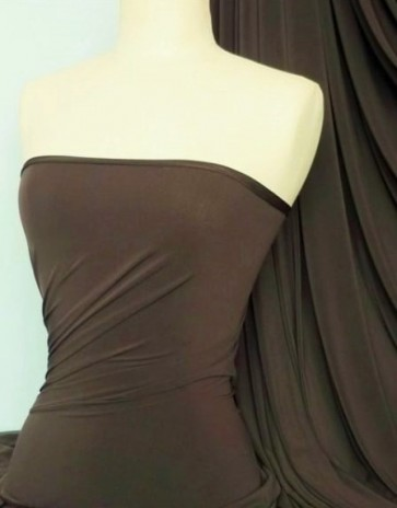 Chocolate Brown 4 Way Stretch Soft Touch Lycra Jersey Fabric Q36 CHBR