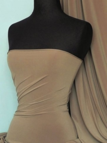 Taupe 4 Way Stretch Soft Touch Lycra Jersey Fabric Q36 TP