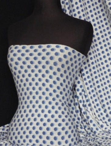 White/ Blue Spot/ Stripe Viscose Cotton Lycra Q444 BL