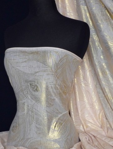 Peach Gold Feather Light Weight Poly Viscose Fabric Q535 PCHGLD