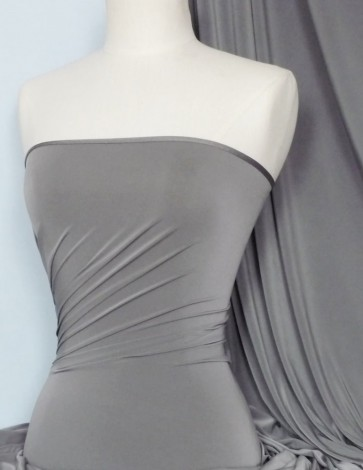 Dark Cloud Grey Silk Touch 4 Way Stretch Lycra Fabric Q53 DKCLDGR