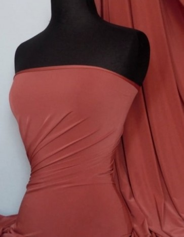 Dark Rust Red Silk Touch 4 Way Stretch Lycra Fabric Q53 DKRST