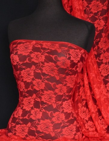 Red rose flower stretch lace fabric Q963 RD