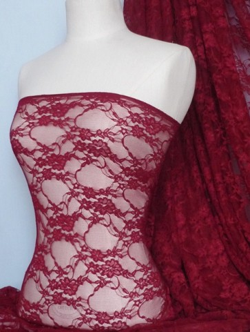 Red WineFlower Soft Stretch Lycra Lace Q137 RDWN