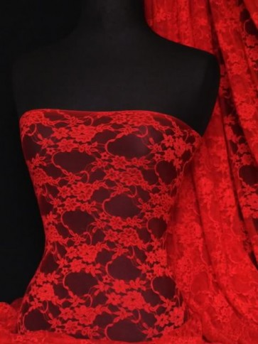 Red Flower Soft Stretch Lace Lycra Fabric Q137 RD