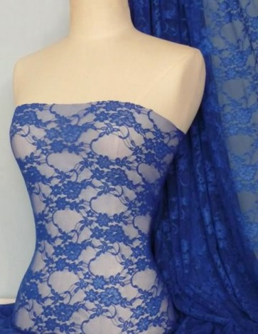 Royal blue flower stretch lace with lycra Q297 RBL