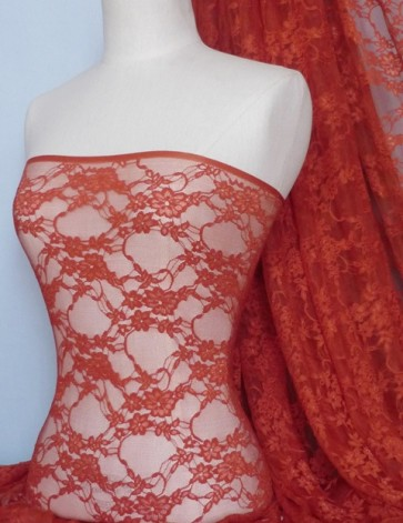 Rust Flower Soft Stretch Lycra Lace Fabric Q137 RST