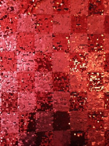 Red Blocks Showtime Fabric All Over Stitched Sequins Mesh SEQ63 RD