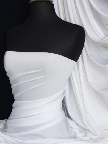 Pure White Shiny Lycra Spandex 4 Way Stretch Fabric Q54 WHT