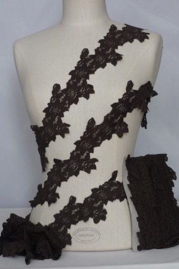 Brown Flower Trail Lace Trimming SY57 BR