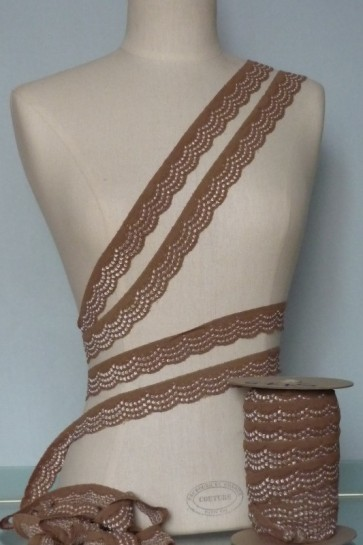 Mocha Brown Scalloped Lace Trimming SY76 MCH