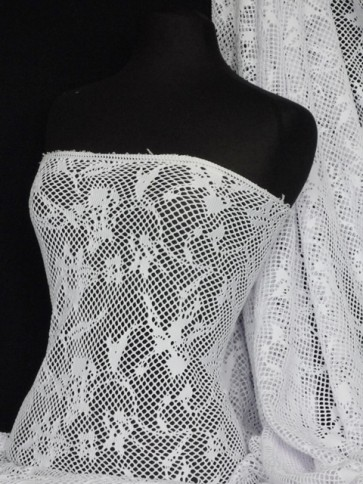 White Fishnet Abstract Net 4 Way Stretch Fabric Q977 WHT