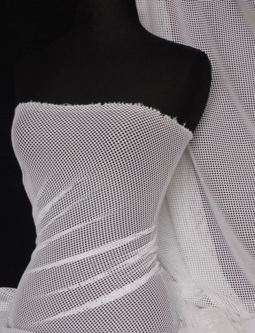 White Fishnet / Net 4 Way Stretch Fabric Material Q317 WHT