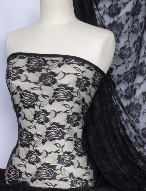 black rose flower stretch lace fabric q963 bk