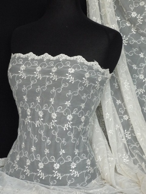 Cream embroidered broderie anglaise fancy dress net fabric