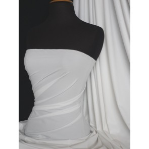 White Matt Lycra 4 Way Stretch Fabric Q56 WHT