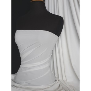 Clearance White Matt Lycra (150 cms) 4 Way Stretch Light Weight Material SQ282 WHT