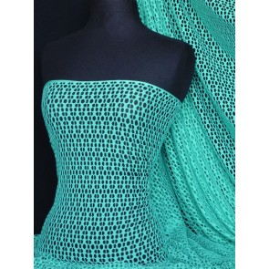 Aqua Blue fishnet / abstract net stretch fabric Q899 AQBL