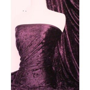 Aubergine Crushed Velvet/ Velour Stretch Fabric Q156 AUB
