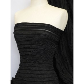Black catwalk look stretch frill fabric Q848 BK