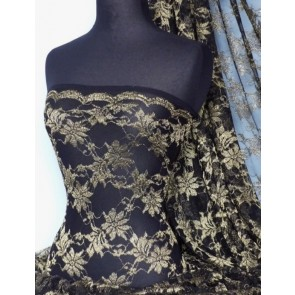 Black Gold Shimmer Floral Stretch Lace Fabric Q934 BKGLD