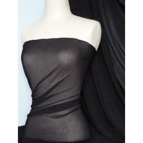 Black Pleated Chiffon Sheer Stretch Fabric Q621 BK