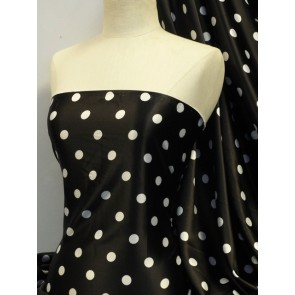Black polka dots super soft satin fabric Q830 BKWHT
