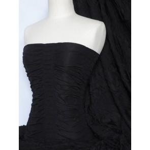 Black Ruched Catwalk Look 4 Way Stretch Fabric Q802 BK
