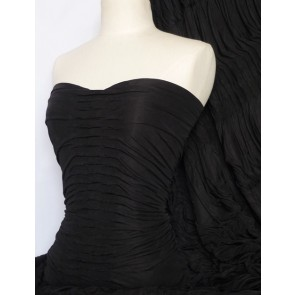 Black Ruched Catwalk Look 4 Way Stretch Fabric Q804 BK