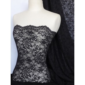 Black Scalloped Flower 4 Way Stretch Lace Q891 BK
