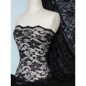 Black Scalloped Stretch Lace Lycra Fabric Q615 BK
